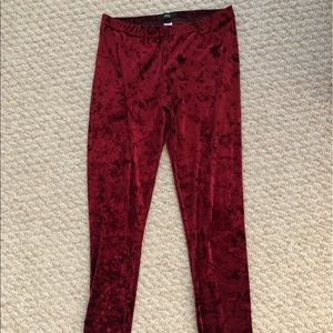 BDG Merlot Crushed Velvet Leggings